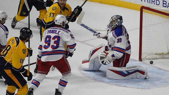 Predators forward James Neal scores Nashville's second goal of the game against the Rangers during the second period.
