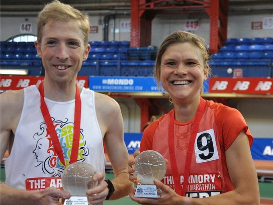 Malcolm Richards (l) and Lindsey Scherf (r) after the