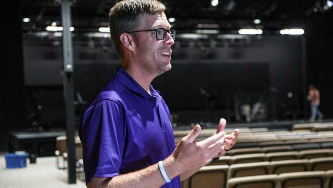 Pastor Lawson Clary talks in the sanctuary about the new location of 5 Point Church, on S.C.8 near U.S. 123, in Easley on Tuesday.