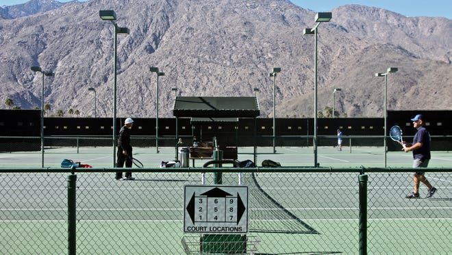 Lucas Esposito/The Desert Sun Players get in a game at the Plaza Racquet Club in Palm Springs. Players get in a game at the Plaza Racquet Club in Palm Springs.