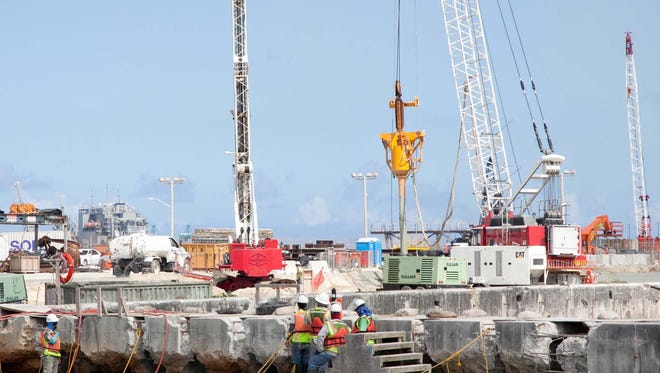 Work is ongoing on the Apra Harbor Wharf Improvements Project Phase 1 on Naval Base Guam.