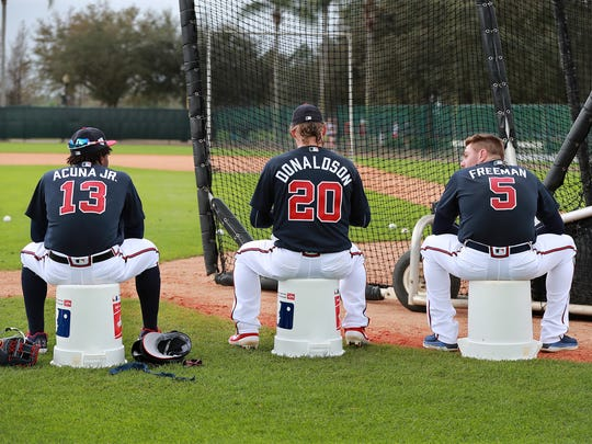 Ronald Acuna Jr. (left), Josh Donaldson (center) and Freddie Freeman return for the NL East champion Braves.