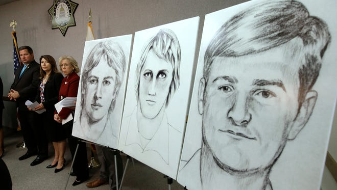Law enforcement drawings of a suspected serial killer believed to have committed at least 12 murders across California in the 1970's and 1980's are seen at a news conference about the investigation on June 15, 2016, in Sacramento, Calif.