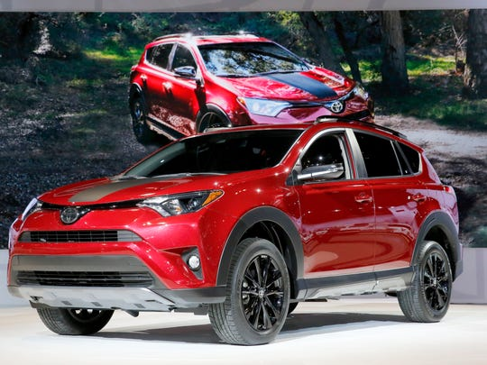 The 2018 RAV4 Adventure on display during the media preview of the Chicago Auto Show, Thursday, Feb. 9, 2017, in Chicago.