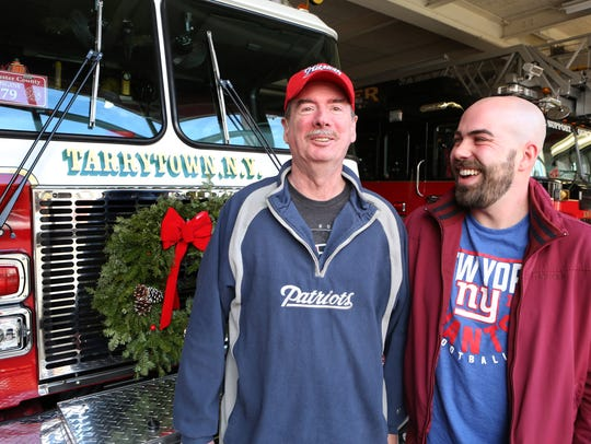 Bill Duggan, left, of Mount Kisco, a longtime member of the Tarrytown Fire Department who was recently diagnosed with Stage 4 brain cancer, with family friend Mike Chillemi, who started a gofundme page to send Duggan to the Super Bowl LII in Minnesota.