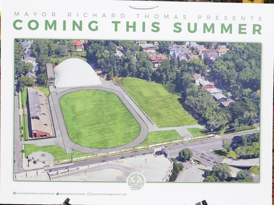 Poster displayed when Mount Vernon Mayor Richard Thomas at a Feb. 14, 2018, news conference announced plans to open up parts of Memorial Field for the summer of 2018.