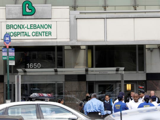 Officials are gathered outside Bronx Lebanon Hospital
