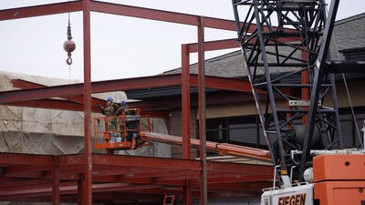 Construction crews work on a project at Plains Commerce Bank in Sioux Falls