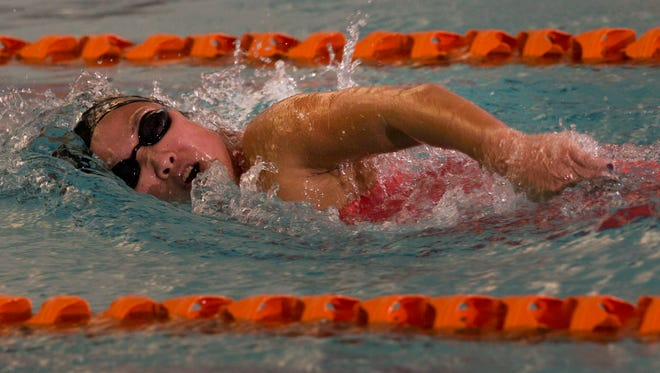Central Regional's Jillian Schaad in the Girls 500 yard Freestyle race at Ocean County Girls Swimming Championship at Ocean County YMCA in Toms River, NJ on January 15, 2016.