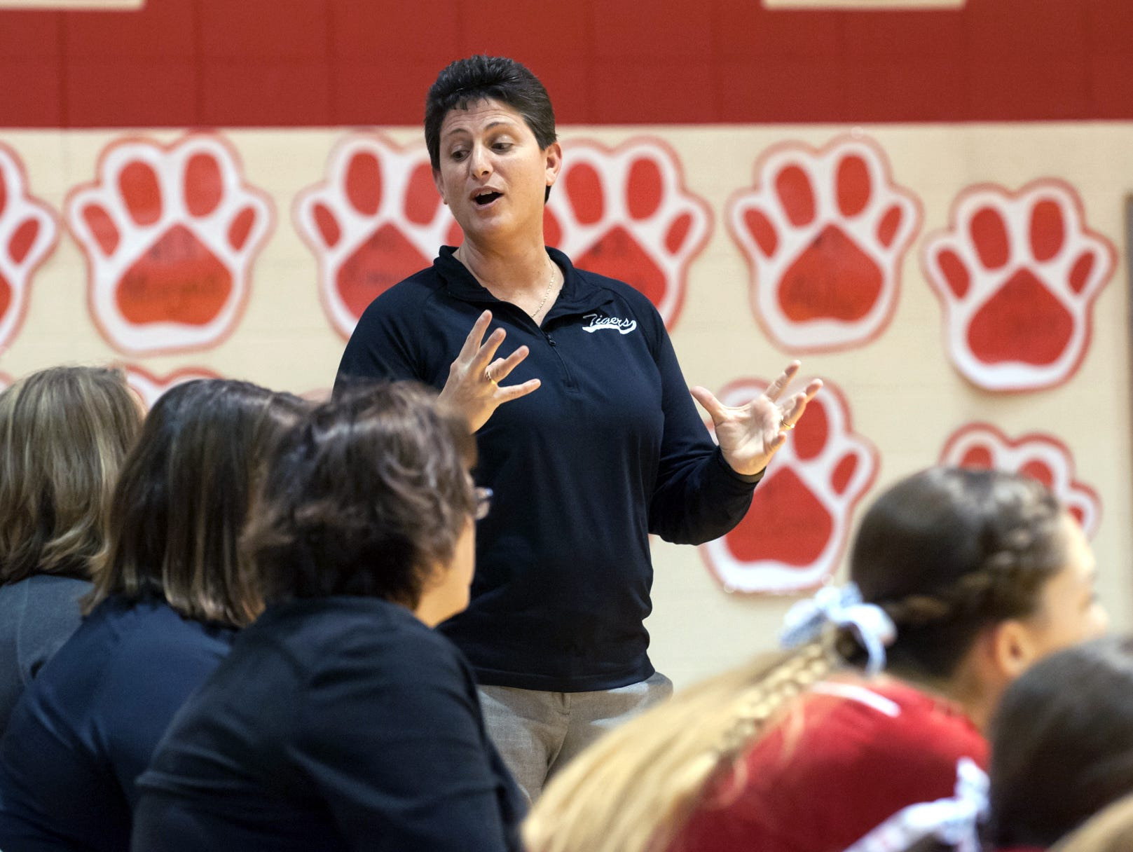 St. Philip head coach Vicky Groat talks to the coaches during the first match.