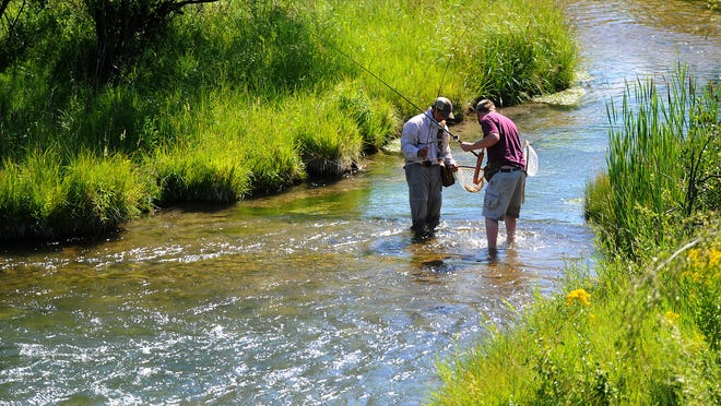 Anglers check out their catch while fishing Big Spring Creek in Lewistown.