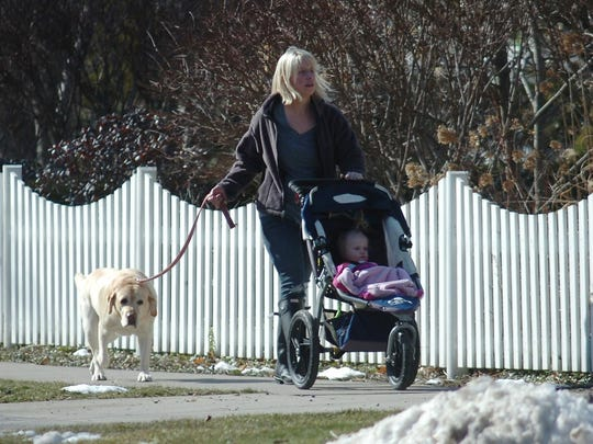 A woman walks her dog as she pushes a stroller on Oak Street.