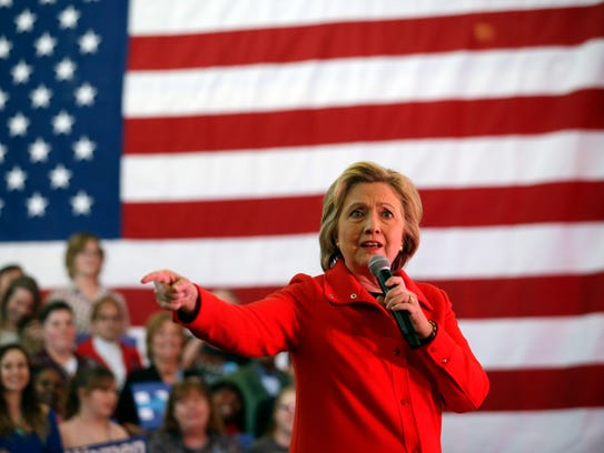 Hillary Clinton speaks at a rally at Truckee Meadows