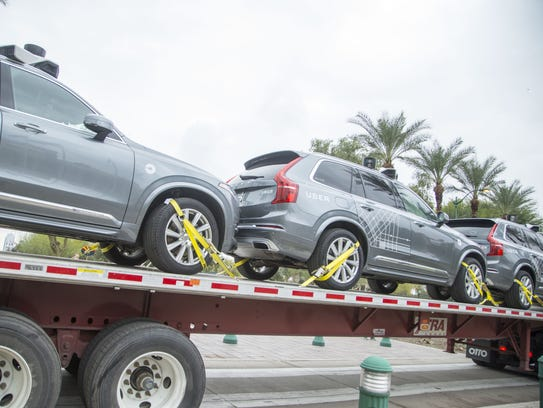 Three Uber self-driving Volvo vehicles were delivered
