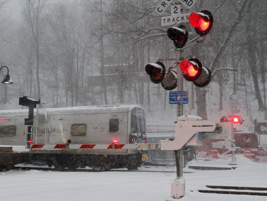 A MetroNorth commuter train pulls into the Brewster