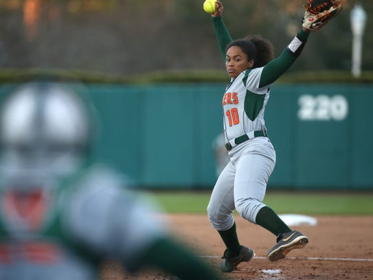 FAMU's Tahlia Snider pitches against FSU during their