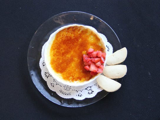 To finish, Wong serves a creme brulee with shortbread