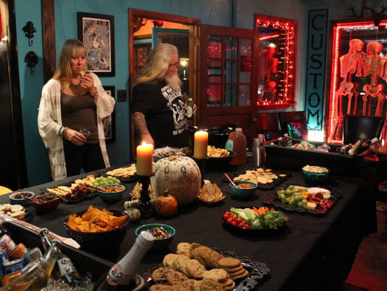 Guests enjoy some of the food that was available during
