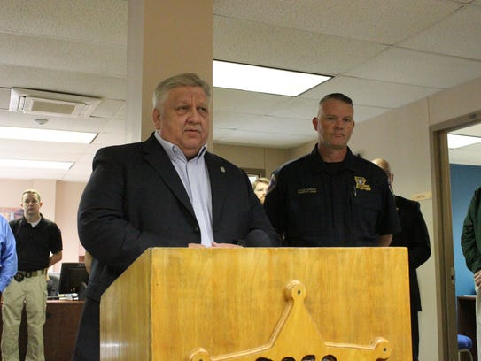 Pineville Police Chief speaks at a press conference