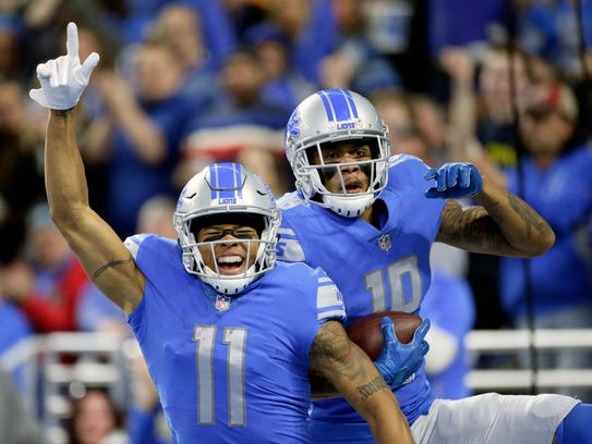 Lions receivers Marvin Jones (11) and Kenny Golladay