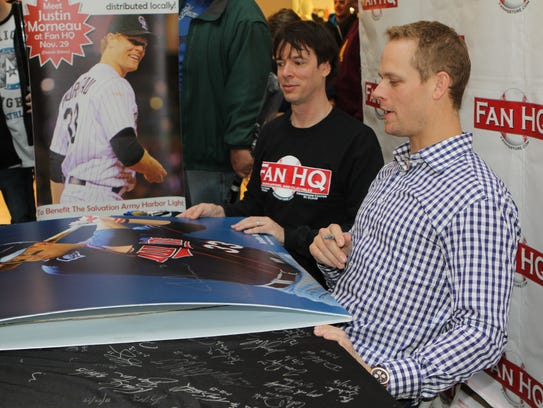 Shaun Hagglund, left, works with former Twins star