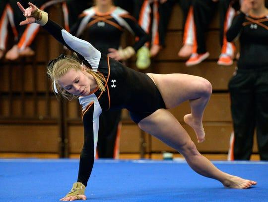 St. Cloud Tech senior gymnast Kalley Thompson performs