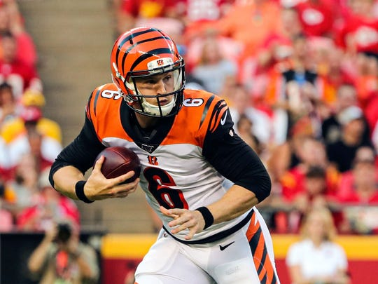 Aug 10, 2019; Kansas City, MO, USA; Cincinnati Bengals quarterback Jeff Driskel (6) scrambles against the Kansas City Chiefs during the first half at Arrowhead Stadium. Mandatory Credit: Jay Biggerstaff-USA TODAY Sports
