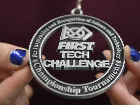 The medal won by the Wayne Patriots team during the First Tech Challenge at the Garden State Rumble Championship Tournament.