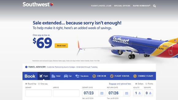In an olive branch to customers, Southwest extended a fare sale that had been set to expire. This image is of a screenshot of Southwest's website on the morning of July 22, 2016.