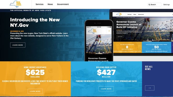 The homepage of NY.Gov, the state government's website after a redesign unveiled Nov. 12, 2014.