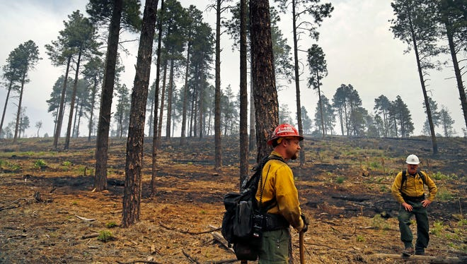 """In bad fire seasons, major wildfires can quickly eat through federal fire-fighting budgets. When that happens, the money set aside to reduce the number and severity of fires and improve forest health often is redirected to firefighting efforts, in a cycle known as """"fire borrowing."""" Officials warn that although monsoon rains and human precaution have helped forested areas unaffected by fires, rains can pose flooding risks for areas already damaged, such as that blemished by the Slide Fire (above). Photos by David Kadlubowski/The RepublicDivision Group Supervisor for the Slide Fire Jon Tepley, left, and Dick Fleishman Assistant Team Leader for the Department of Agriculture talk about their work to control the Slide Fire in the Coconino National Forest Sunday, May 25, 2014 near Flagstaff Ariz."""