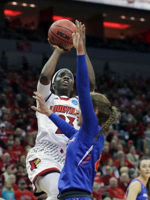 Louisville's Jazmine Jones gets two against Boise State in the first round of the NCAA Tournament at the KFC Yum Center on Friday, March 16, 2018.
