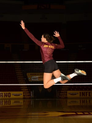 ASU senior Whitney Follette moved tfrom middle blocker o the right side Friday and had 13 kills against No. 1 USC.