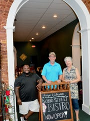 Demrick Davis and Dwayne and Lisa Jackson at the newly opened Ohio Street Bistro in the Birds of a Feather Vintage Market (617 Ohio St.). The Bistro is open for lunch from 10:30 a.m. to 2 p.m. Monday through Saturday.