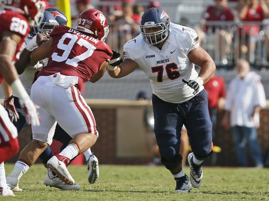"UTEP's Will Hernandez (76) says he plays ""all-out and"