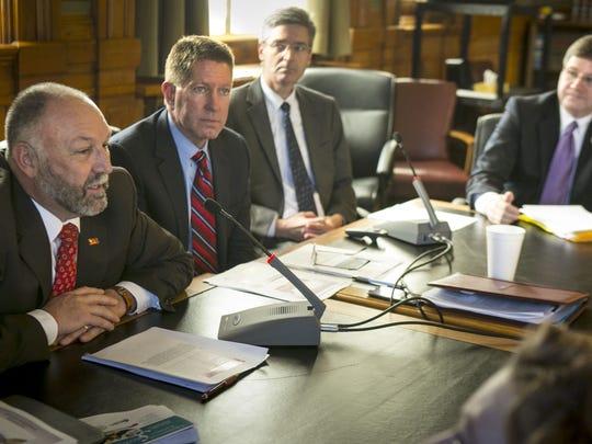 From left, Steven Leath, president of Iowa State University;