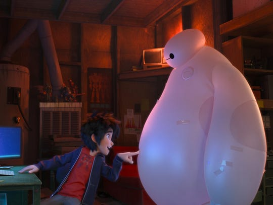 Hiro  and Baymax the robot in a scene from the animated