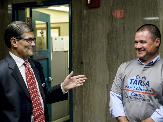 Republican and incumbent Lebanon County Commissioner Bob Phillips, left, talks with Democratic challenger Chris Tarsa at the Lebanon County Municipal Building Tuesday. Phillips won a second term to the board along with fellow Republican Bill Ames and Democrat Jo Ellen Litz. Tarsa was unsuccessful in his run.