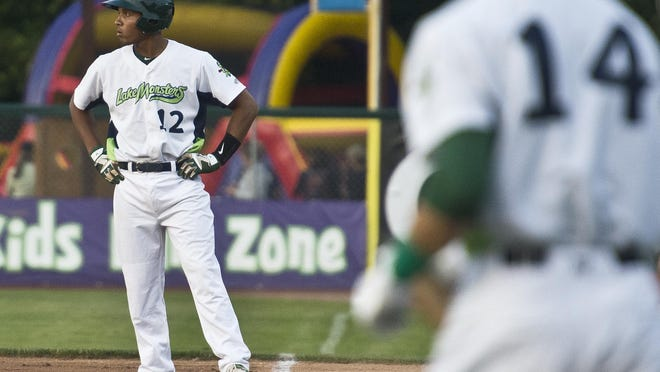 Vermont Lake Monsters' shortstop Richie Martin stands on first base during a game against Mahoning Valley on Wednesday. Martin was the 20th pick in the 2015 Major League Baseball draft.