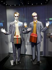 """Costumes worn by characters portrayed by Justin Timberlake and Andy Samberg are displayed at the """"Saturday Night Live: The Exhibition,"""" in New York."""