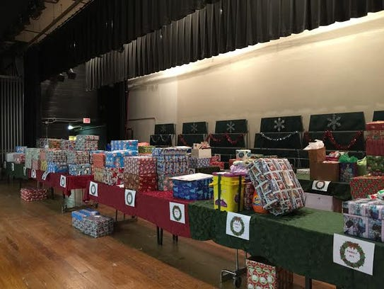 Donations were lined up on tables at the end of last