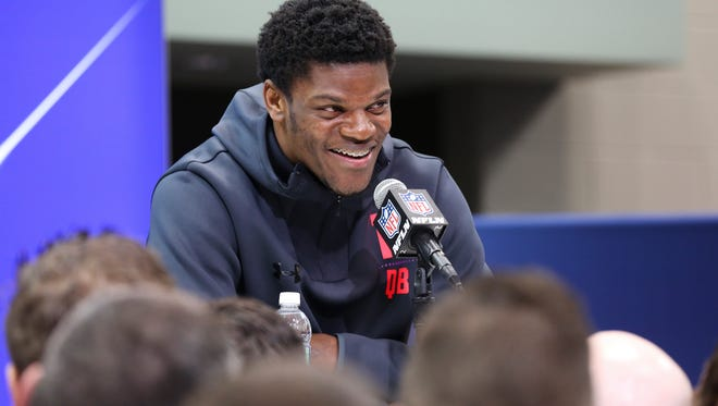 Former U of L QB Lamar Jackson spoke to the media during the NFL Combine in Indianapolis.   Mar. 2, 2018
