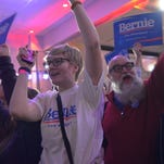 Supporters of Sen. Bernie Sanders, I-Vt., chant while waiting for their candidate to make an appearance on caucus night in Des Moines, Iowa, on Monday, Feb. 1, 2016.