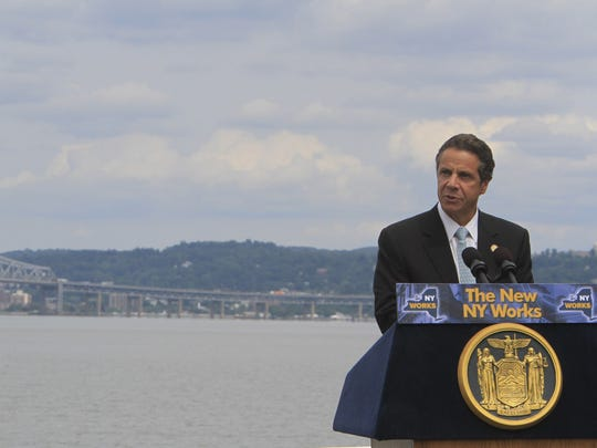 New York State Gov. Andrew Cuomo speaks during an August 2012 event formally announcing a request for federal funding to build a new bridge replacing the Tappan Zee Bridge.