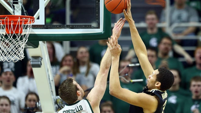 MSU center Matt Costello will have his hands full tonight against Purdue's A.J. Hammons, who is three inches taller and averages 14.5 points per game.