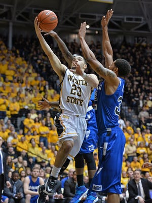 Wichita State's Fred VanVleet glides in for a shot against Indian State's Khristian Smith.
