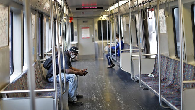 The MBTA Red Line and commuter rail trains are light on riders as a result of the pandemic.