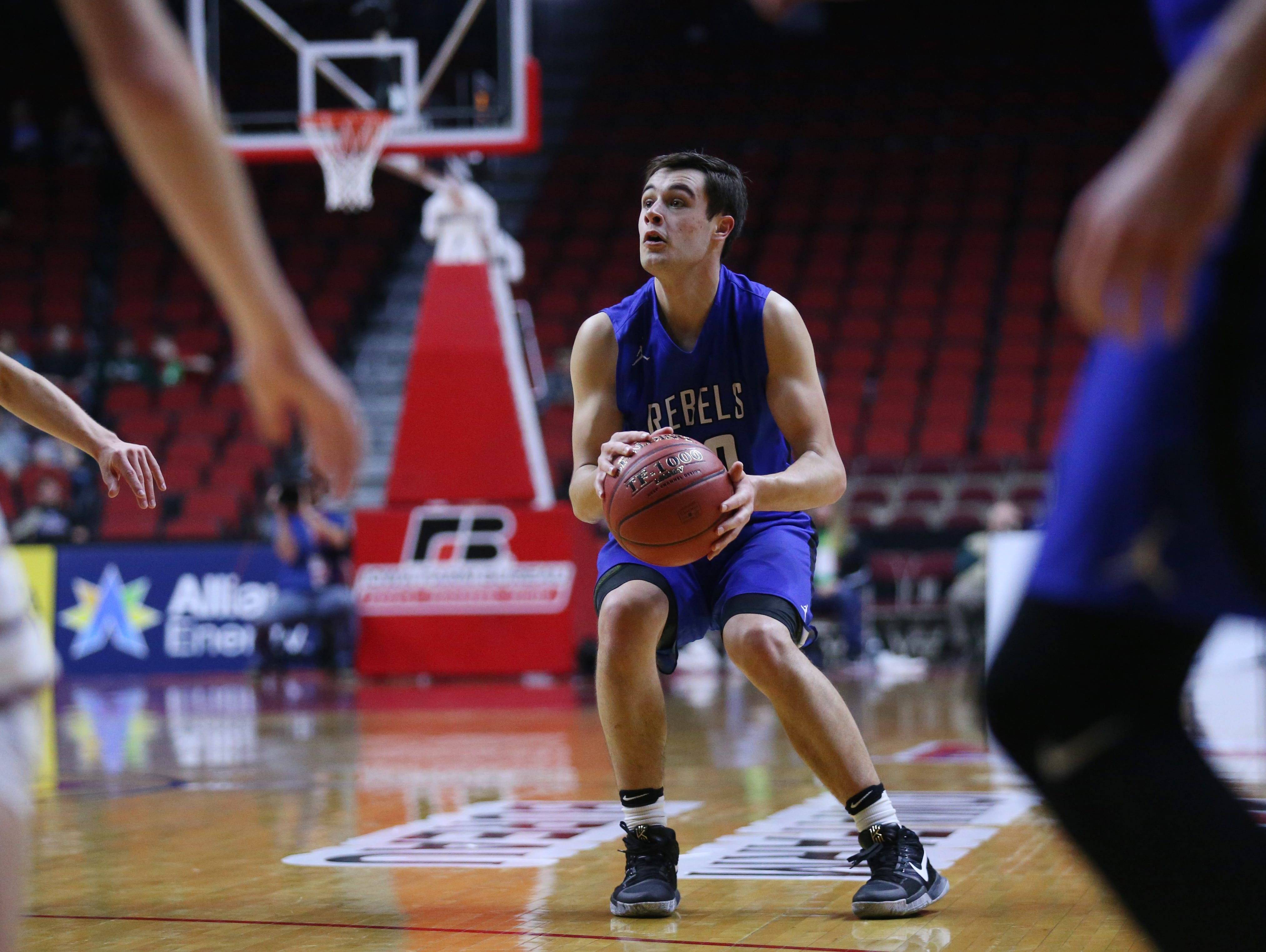 Gladbrook-Reinbeck's Joe Smoldt looks to shoot the ball during the state boys' basketball 1A semifinal between North Linn and Gladbrook-Reinbeck on Thursday, March 9, 2017, in Wells Fargo Arena. Gladbrook-Reinbeck won the game, 58-53.