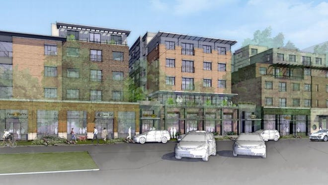 This rendering shows the planned Uncommon apartment complex planned at the former Perkins site on the southeast corner of College Avenue and Olive Street.