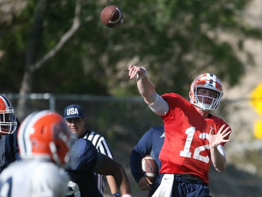 UTEP senior quarterback Ryan Metz lets a pass fly to
